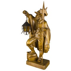 German Hand Carved Wooden Figurative Sculpture Lamp Night Watchman with Lantern