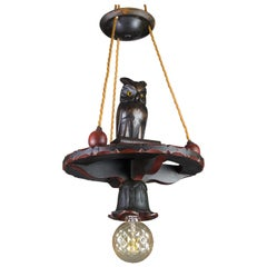 German Hand Carved Wooden Pendant Light Chandelier with Owl Sculpture, 1920s