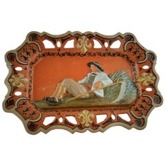 German Hand Painted Ceramic Figural Wall Plaque, circa 1920s