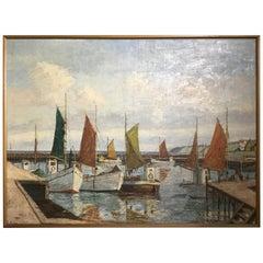 German Harbor Painting by Emil Brehm