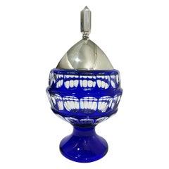 German Hermann Behrnd Blue Bohemian Crystal Bowl with Silver Lid, Dresden
