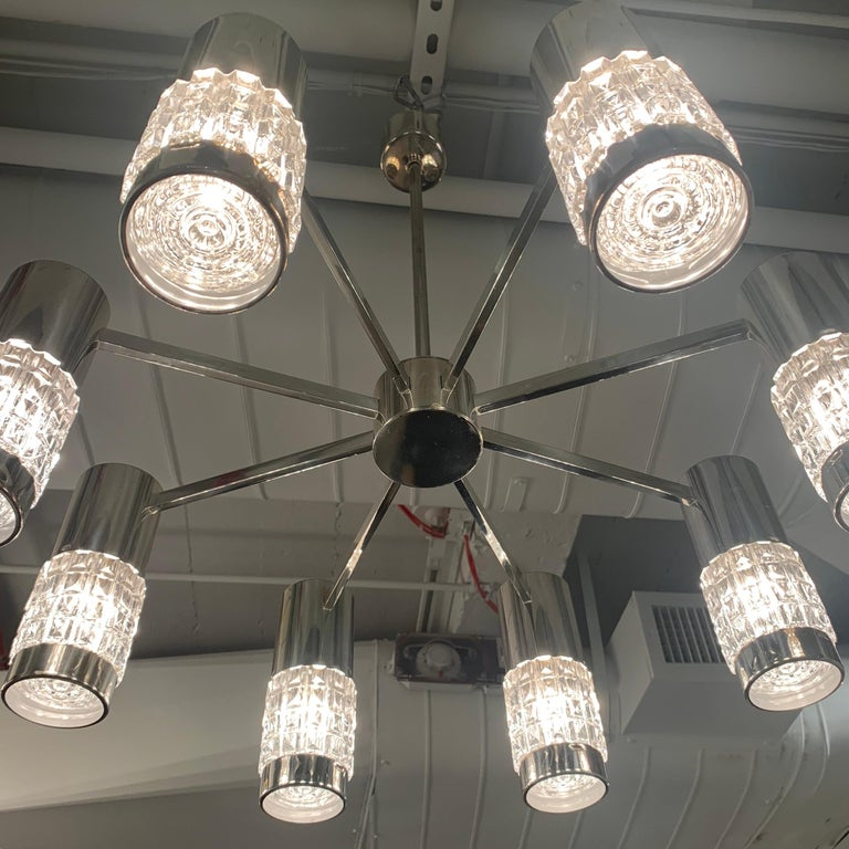 German High Style 1970s Chandelier For Sale 9