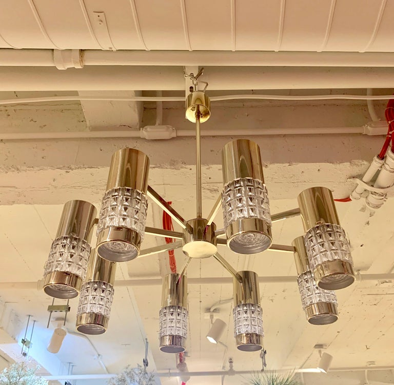 Mid-Century Modern German High Style 1970s Chandelier For Sale