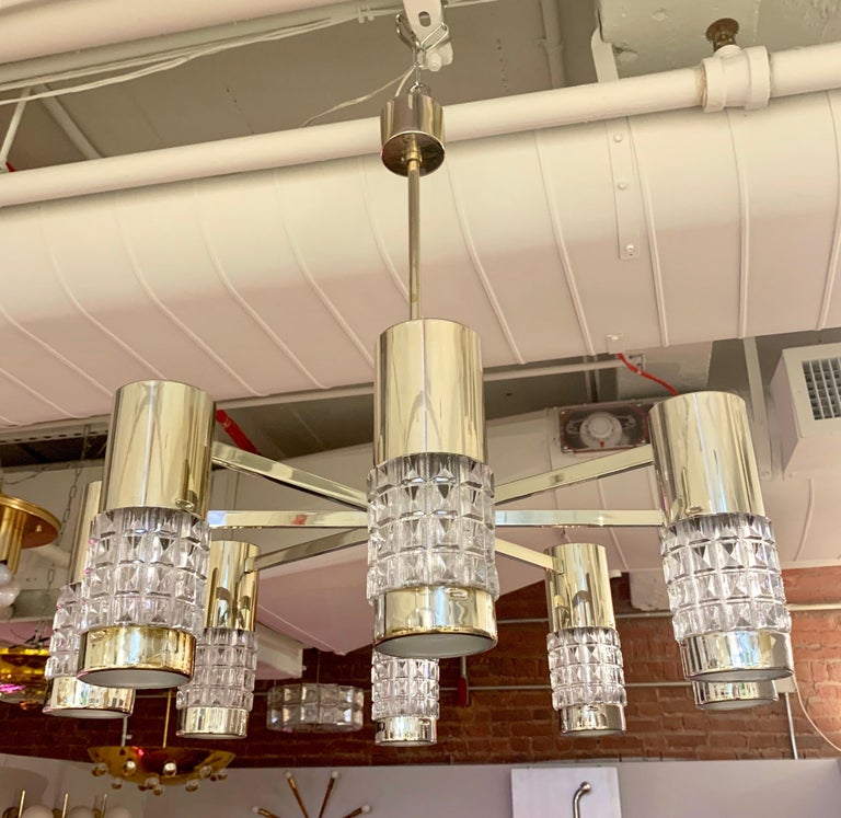 Brass German High Style 1970s Chandelier For Sale