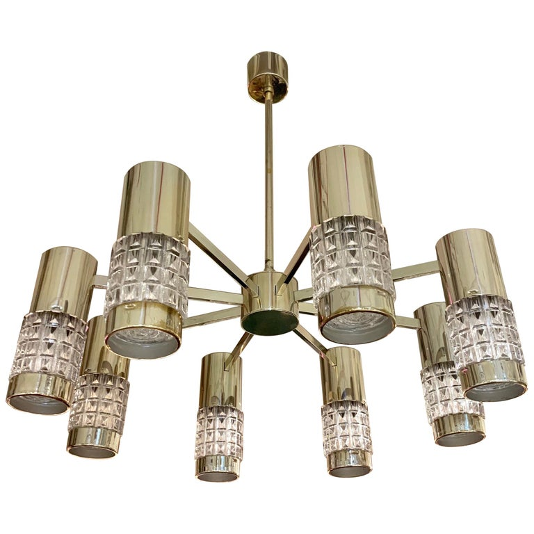 German High Style 1970s Chandelier For Sale