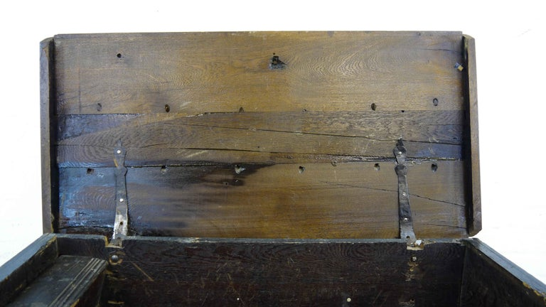 German Hope Chest or Dowry Chest, Carved Oak, Dated 1718, Baroque For Sale 9
