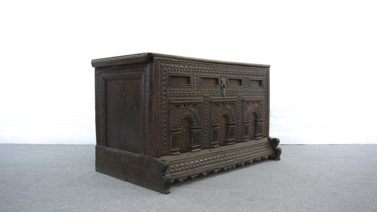 German Marriage chest / Aussteuertruhe, 301 years old! Dated 1718. Rich carvings in oakwood. Comes from the Region of Bad Rothenfelde, Lower Saxony. We could retrieve one name from the front side. G.V. - stands for the family Vigano.
