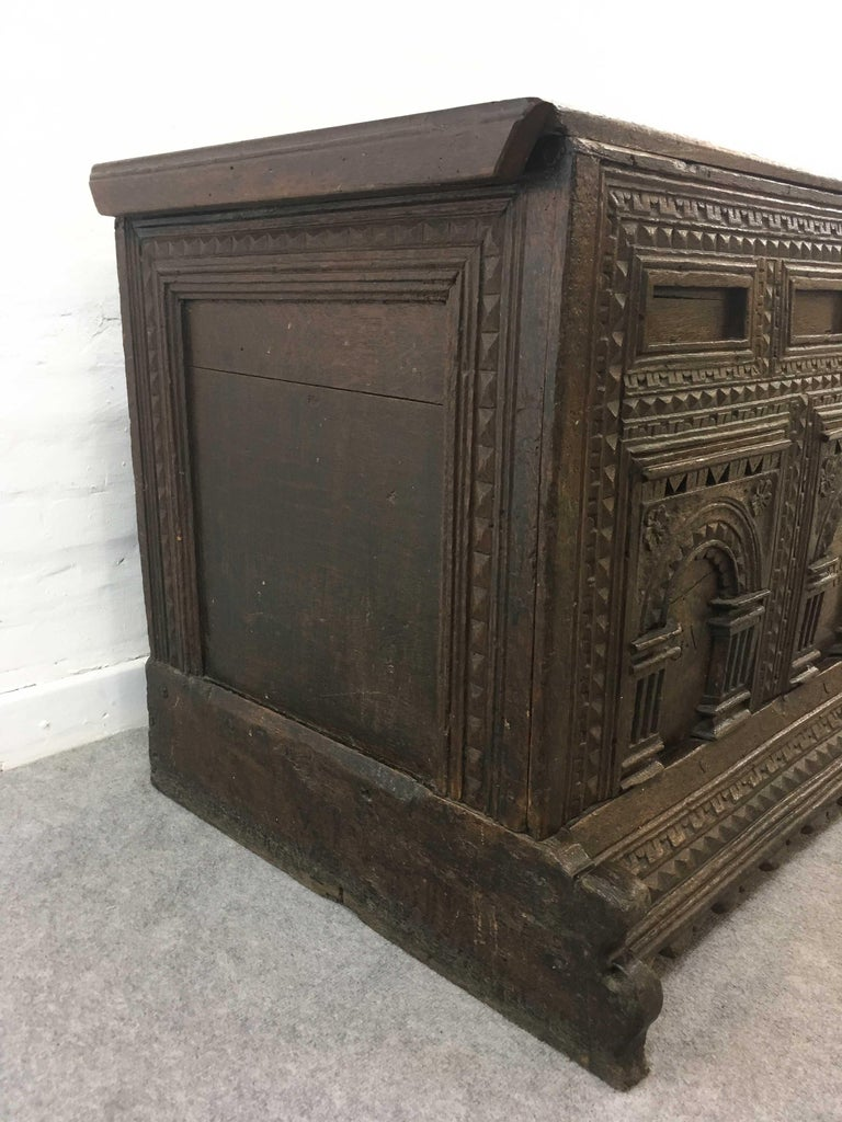 German Hope Chest or Dowry Chest, Carved Oak, Dated 1718, Baroque For Sale 1