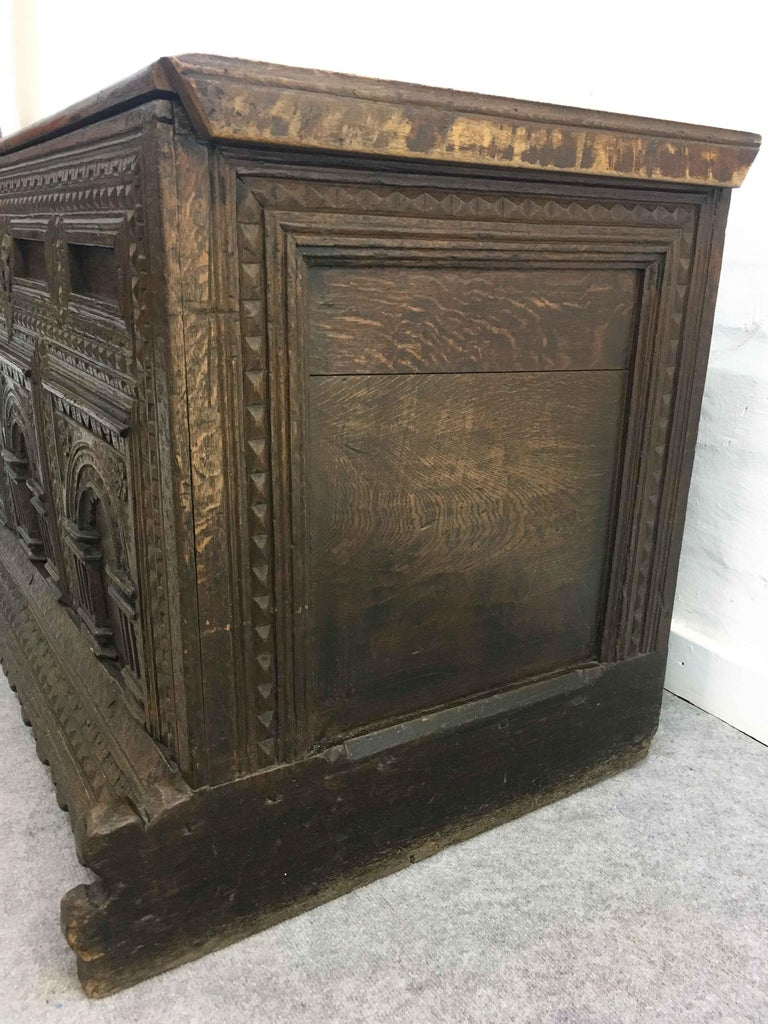 German Hope Chest or Dowry Chest, Carved Oak, Dated 1718, Baroque For Sale 2