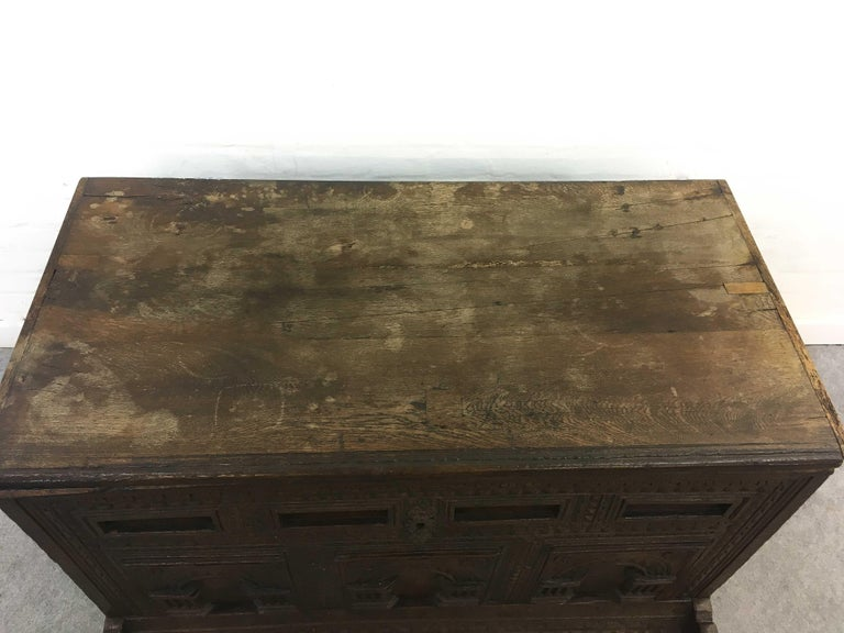 German Hope Chest or Dowry Chest, Carved Oak, Dated 1718, Baroque For Sale 3