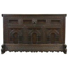 German Hope Chest or Dowry Chest, Carved Oak, Dated 1718, Baroque