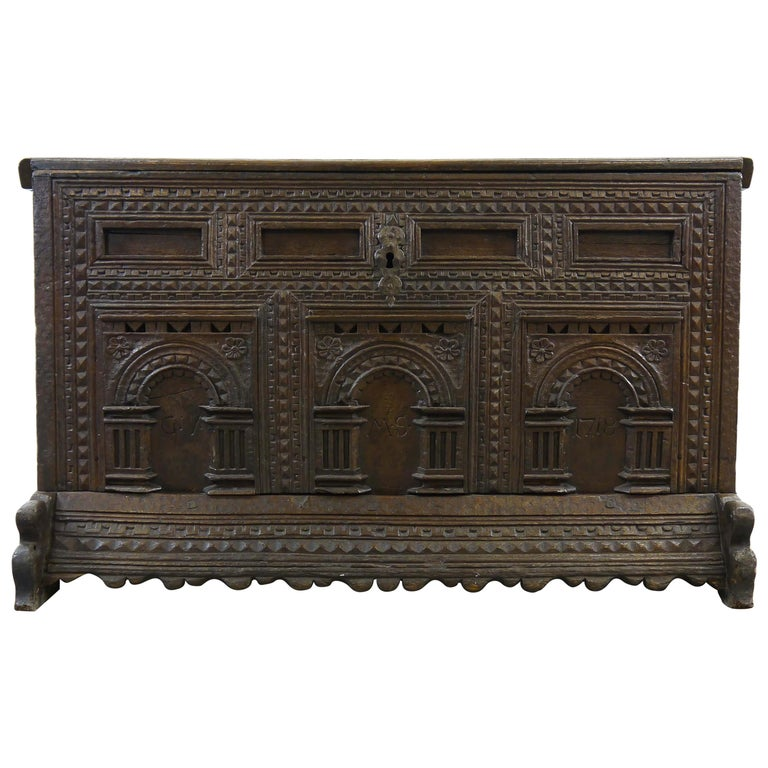 German Hope Chest or Dowry Chest, Carved Oak, Dated 1718, Baroque For Sale