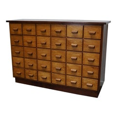 German Industrial Oak Apothecary Cabinet, Mid-20th Century