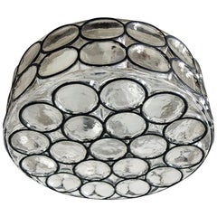 German Iron and Glass Ceiling or Wall Light Flush Mount by Limburg, 1960s