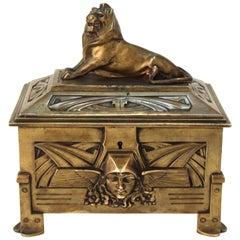 German Jugendstil Bronze Jewelry Box or Casket with Lion Guardian Lid