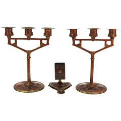 German Jugendstil Enamel Candelabras and Match-Safe