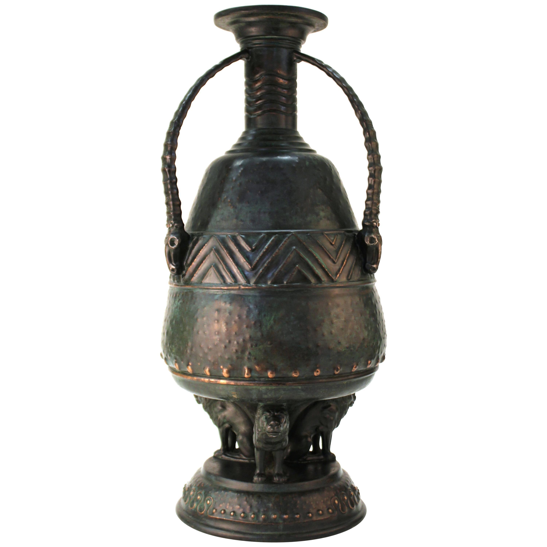 German Jugendstil Monumental Vase with African Motif of Ibex Skulls and Lions