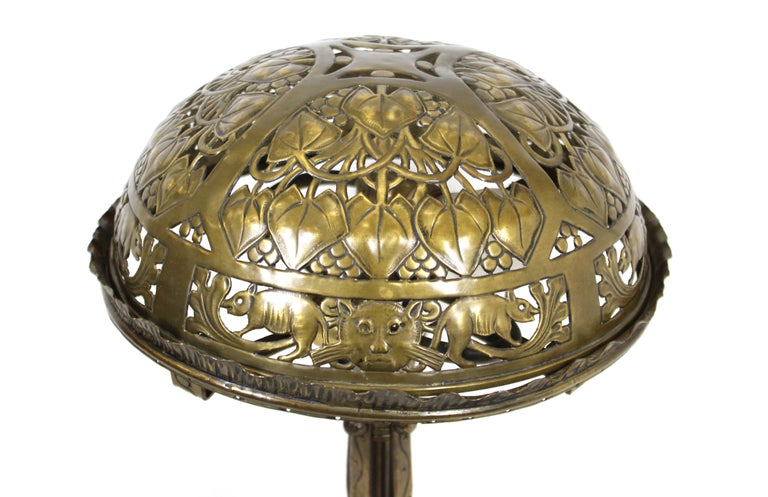 Repoussé German Jugendstil Repousse Brass and Bronze Table Lamp Attributed to Oscar Bach For Sale