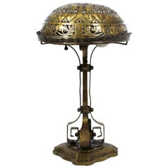 German Jugendstil Repousse Brass and Bronze Table Lamp Attributed to Oscar Bach
