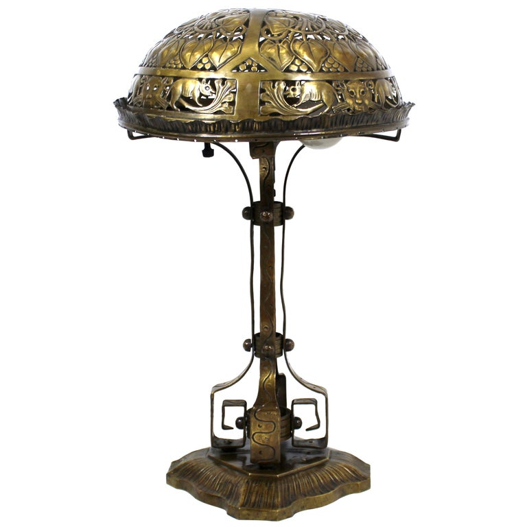 German Jugendstil Repousse Brass and Bronze Table Lamp Attributed to Oscar Bach For Sale