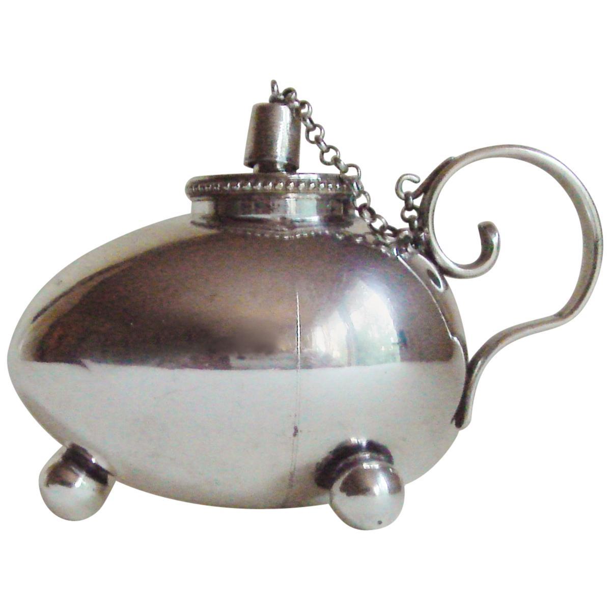 German Jugendstil Silver Plated, Ovoid Form, Oil Fired Cigar Lighter by WMF