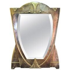 German Jugendstil Silvered Brass Mirror Attributed to Peter Behrens