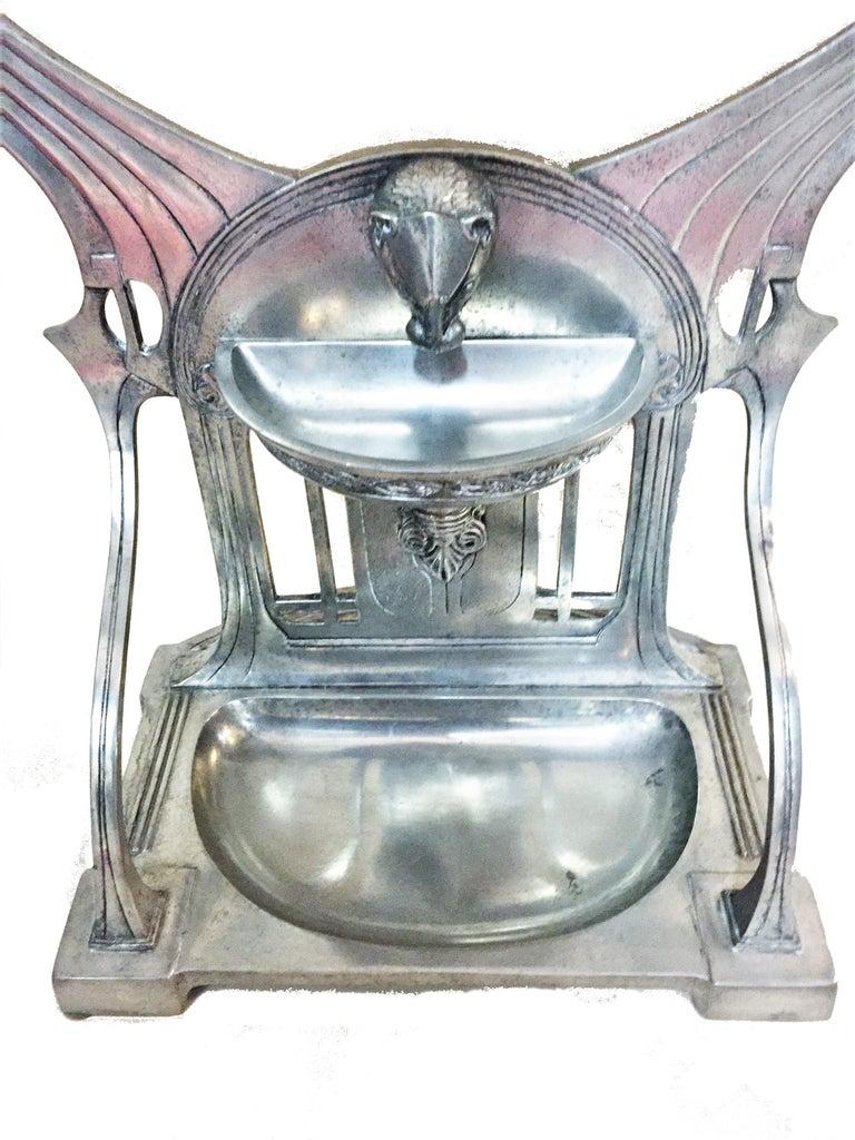 Jugendstil German Jugenstil Grand Silvered Vanity Mirror, circa 1900 For Sale