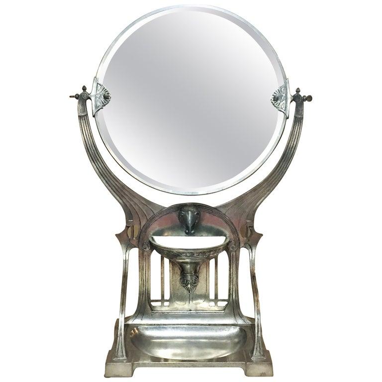 German Jugenstil Grand Silvered Vanity Mirror, circa 1900 For Sale