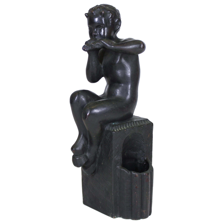 German 'Kleiner' Early Art Deco Bronze Sculpture of Young Pan