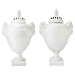 German, KPM Pair of White Empire Potpourri, Porcelain, Vases, Early 20th Century