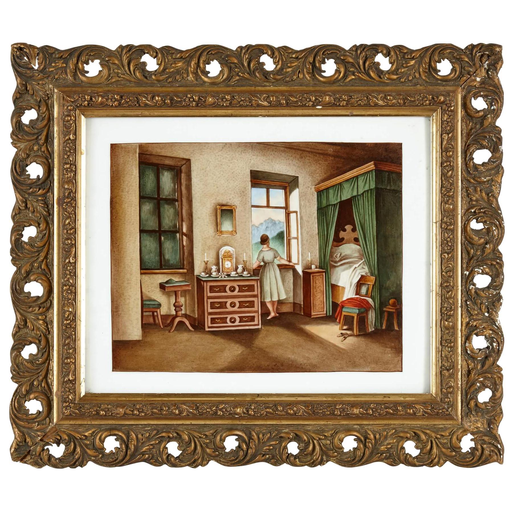 German KPM Porcelain Plaque of an Interior Bedroom Scene