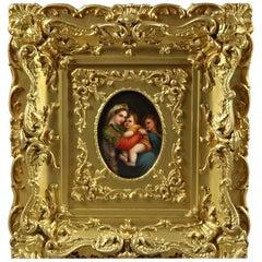 German KPM School Porcelain Plaque after Madonna Della Sedia by Raphael, c1890