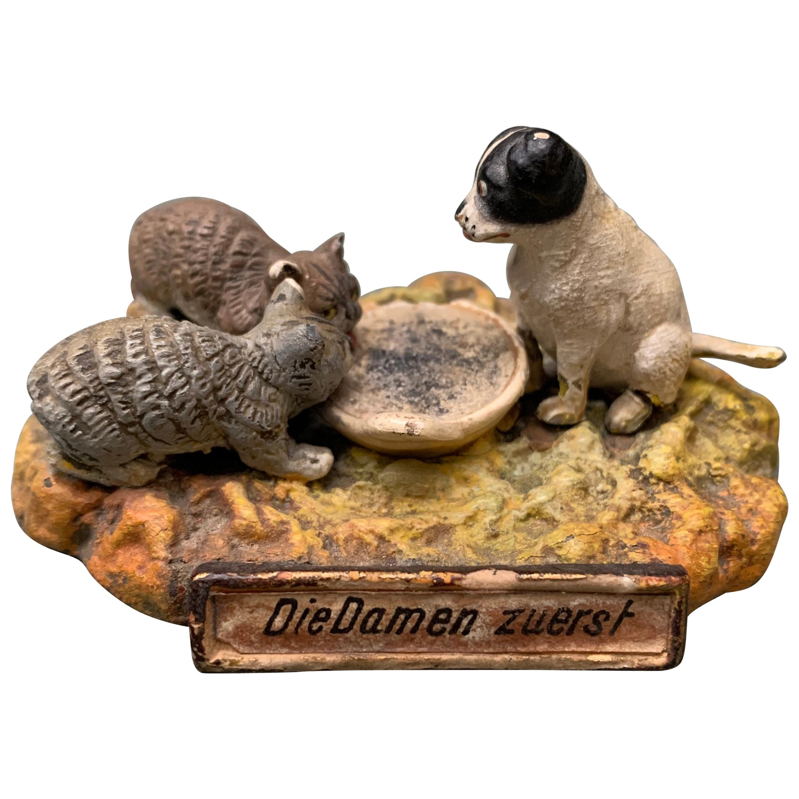 German Ladies First Bronze Sculpture of Cats and Dog