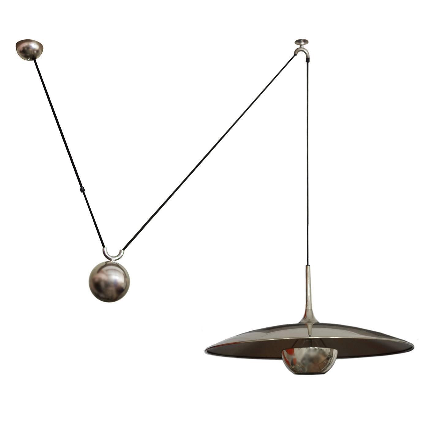 German Large Vintage Adjustable Counterweight Pendant Lamp by Florian Schulz