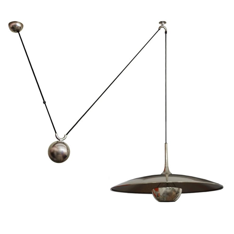 German Large Vintage Adjustable Counterweight Pendant Lamp by Florian Schulz