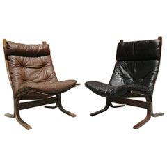German Leather Pair of Westnova Armchairs Produced by Vestlandske, 1970s