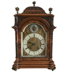 German Lenzkirch Burr Walnut Bracket Clock, circa 1880