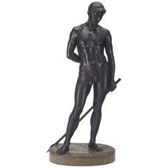 German Life-Size Bronze Statue of Adonis by Richard Koenig, Dresden
