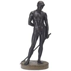German Life-Size Bronze Statue of Adonis by Richard König, Dresden