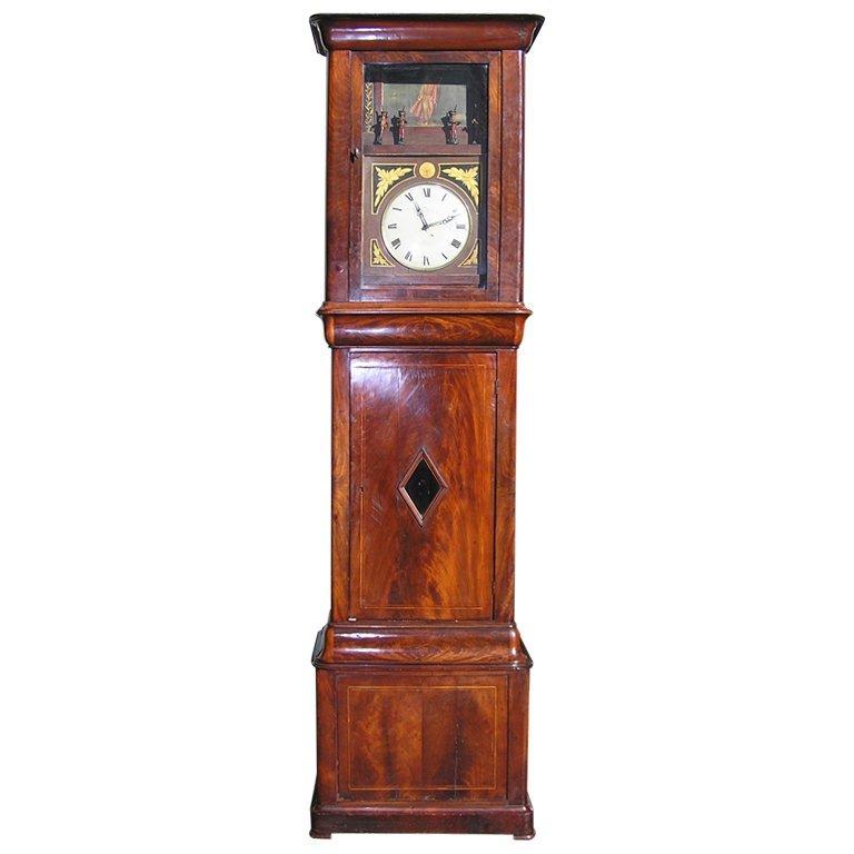 German Mahogany Tall Case Flute Clock