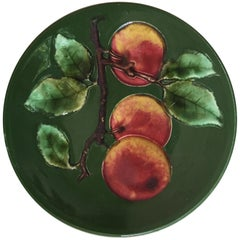 German Majolica Apple Plate, circa 1920