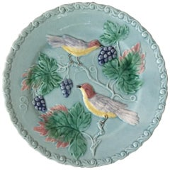 German Majolica Birds and Grapes Plate, circa 1900