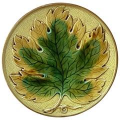 German Majolica Leaf Plate, circa 1900