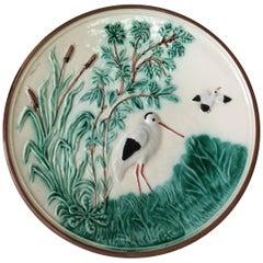German Majolica Stork Plate, circa 1900
