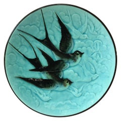 German Majolica Swallow Plate, circa 1900