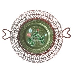 German Majolica Wire Red Flowers Basket, circa 1900