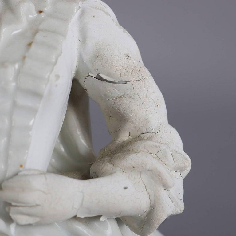 German Meissen Blanc de Chine Style Porcelain Figures, Courting Couple For Sale 4