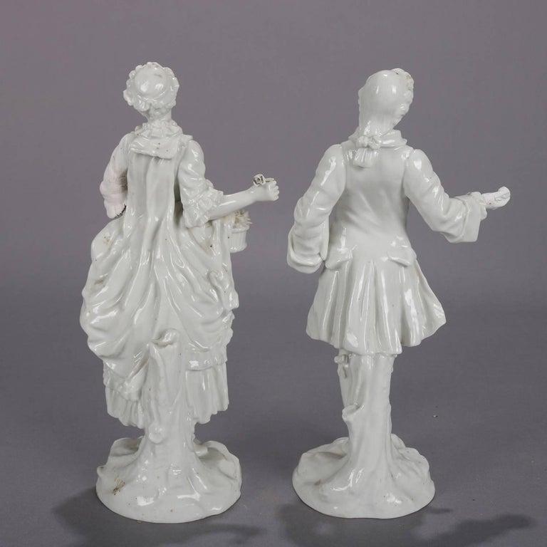 Glazed German Meissen Blanc de Chine Style Porcelain Figures, Courting Couple For Sale