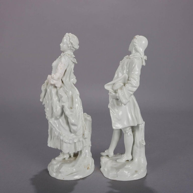 German Meissen Blanc de Chine Style Porcelain Figures, Courting Couple In Good Condition For Sale In Big Flats, NY