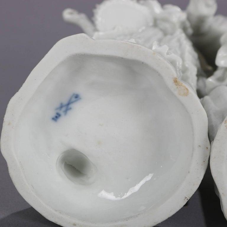 19th Century German Meissen Blanc de Chine Style Porcelain Figures, Courting Couple For Sale
